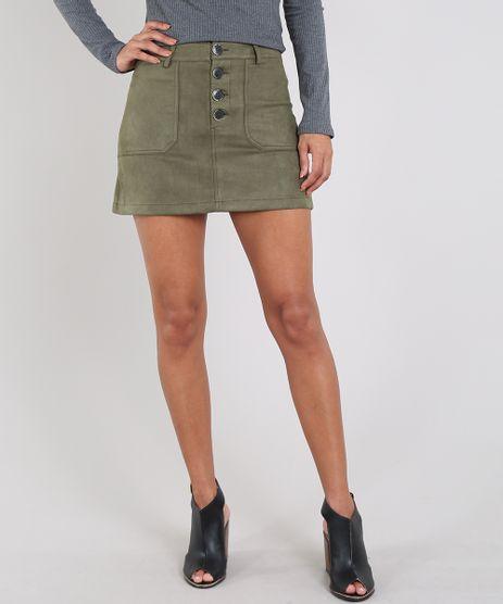 Saia-Feminina-Curta-em-Suede-com-Botoes-Verde-Militar-9445177-Verde_Militar_1