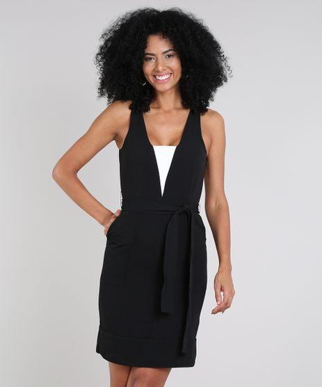 Vestido-Feminino-Curto-com-Recorte-e-Bolsos-Sem-Manga-Preto-9474315-Preto_1