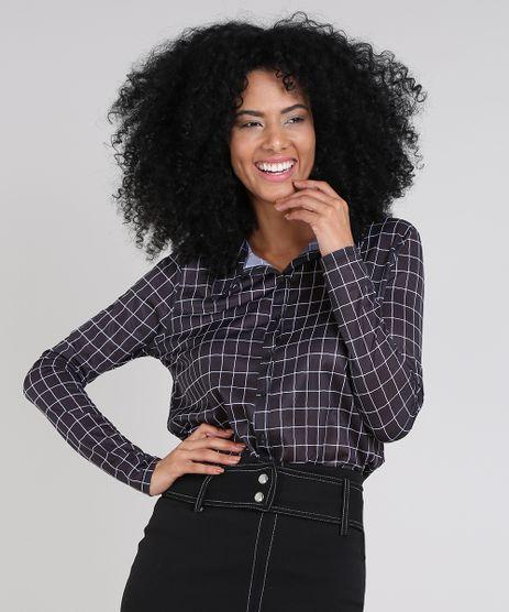 Camisa-Feminina-Estampada-Quadriculada-Manga-Longa-Preta-9557501-Preto_1