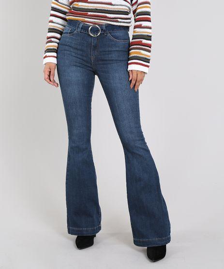 Calca-Jeans-Feminina-Flare-com-Cinto-Azul-Escuro-9605649-Azul_Escuro_1