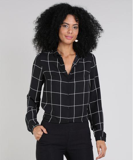 Camisa-Feminina-Estampada-Quadriculada-Manga-Longa-Preta-9540600-Preto_1