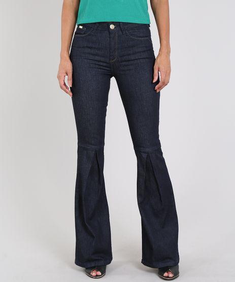 Calca-Jeans-Feminina-Flare-com-Prega-Azul-Escuro-9594598-Azul_Escuro_1