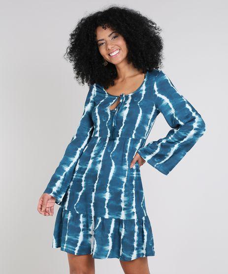 Vestido-Feminino-Curto-Estampado-Tie-Dye-com-Tassel-Manga-Sino-Azul-Petroleo-9575913-Azul_Petroleo_1