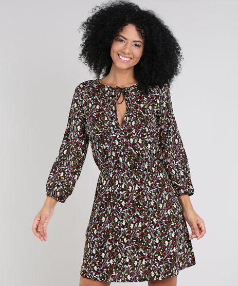 Vestido-Feminino-Curto-Estampado-Floral-Manga-Longa-Preto-9571890-Preto_1