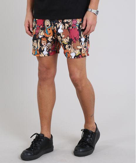 Short-Masculino-Os-Flintstones-Estampado-com-Bolsos-Preto-9570217-Preto_1