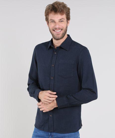 Camisa-Masculina-Comfort-em-Flanela-com-Bolso-Manga-Longa-Azul-Marinho-9436417-Azul_Marinho_1