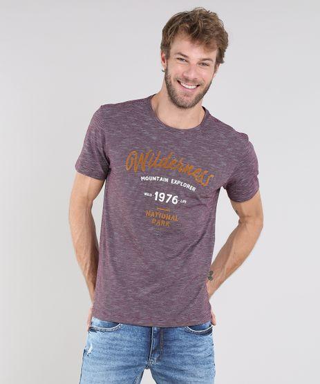Camiseta-Masculina-Listrada-com-Estampa-Flocada--Wilderness--Manga-Curta-Gola-Careca-Roxa-9612095-Roxo_1