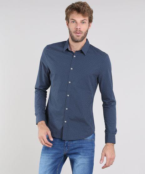 Camisa-Masculina-Slim-Estampada-Mini-Print-Manga-Longa-Azul-Marinho-9436457-Azul_Marinho_1