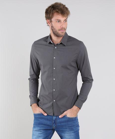 Camisa-Masculina-Slim-Estampada-Mini-Print-Manga-Longa-Verde-Escuro-9436435-Verde_Escuro_1