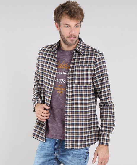 Camisa-Masculina-Comfort-em-Flanela-Estampada-Xadrez-Manga-Longa-Caramelo-9436419-Caramelo_1