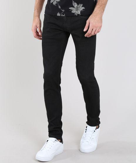 Calca-Jeans-Masculina-Slim-com-Bolsos-Preta-9532887-Preto_1