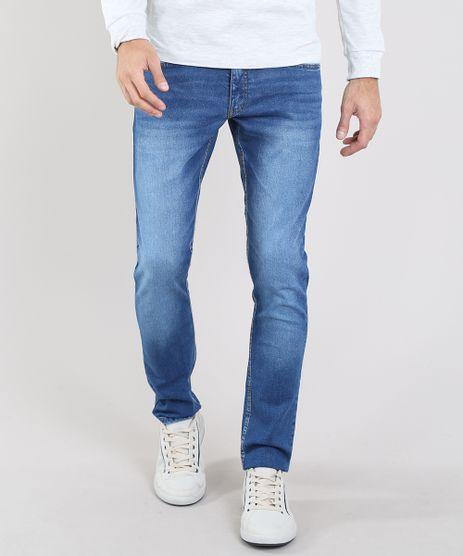 Calca-Jeans-Masculina-Slim-com-Bolsos-Azul-Medio-9531395-Azul_Medio_1