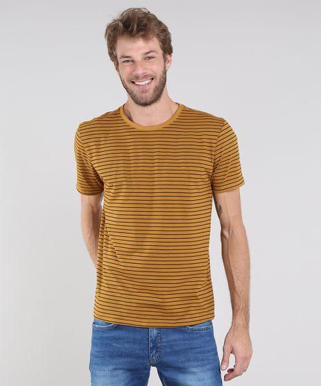 Camiseta-Masculina-Basica-Listrada-Manga-Curta-Gola-Careca-Mostarda-9615764-Mostarda_1