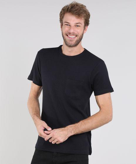 Camiseta-Masculina-Slim-Fit-Maquinetada-com-Bolso-Manga-Curta-Gola-Careca-Preta-9580454-Preto_1