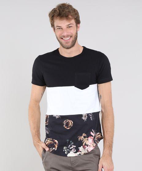 Camiseta-Masculina-Listrada-com-Bolso-Manga-Curta-Gola-Careca-Preta-9514815-Preto_1