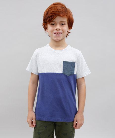 Camiseta-Infantil--New-York--com-Bolso-Manga-Curta-Gola-Careca-Cinza-Mescla-Claro-9558625-Cinza_Mescla_Claro_1