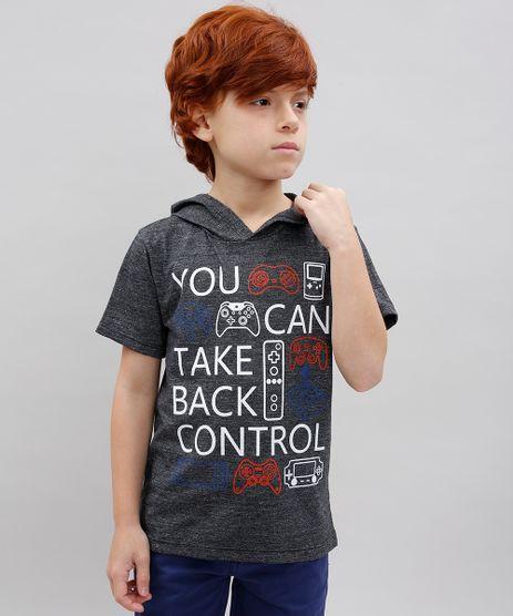 Camiseta-Infantil--You-Can-Take-Back-Control--com-Capuz-Manga-Curta-Cinza-Mescla-Escuro-9534452-Cinza_Mescla_Escuro_1