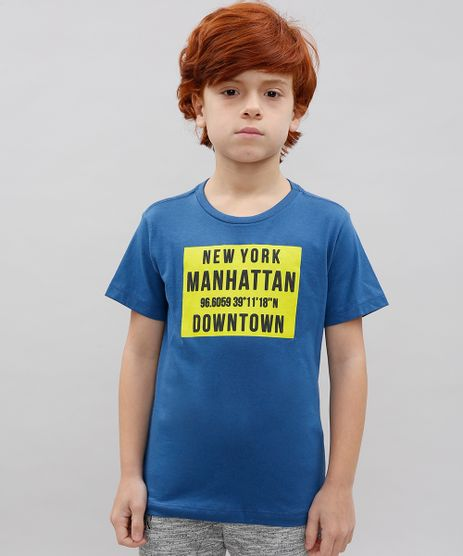 Camiseta-Infantil--New-York-Manhattan--Manga-Curta-Gola-Careca-Azul-9614154-Azul_1