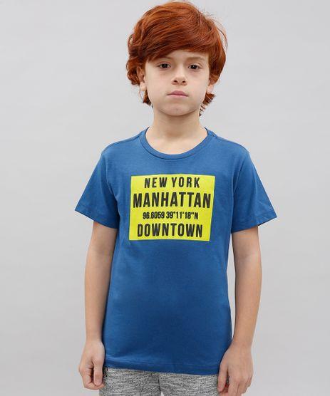 Camiseta-Infantil--New-York-Manhattan--Manga-Curta-Gola-Careca-Azul-9614154-Azul_1