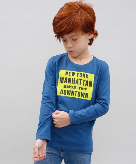 Camiseta-Infantil--New-York-Manhattan--Manga-Longa-Gola-Careca-Azul-9614155-Azul_1
