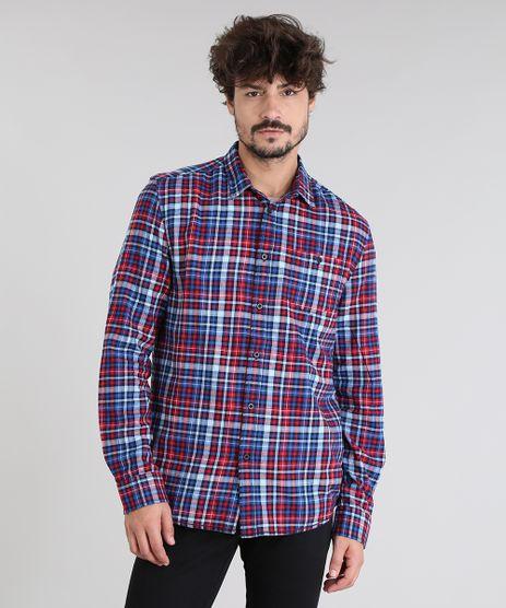 Camisa-Masculina-em-Flanela-Estampada-Xadrez-com-Bolso-Manga-Longa-Azul-Marinho-8448862-Azul_Marinho_1