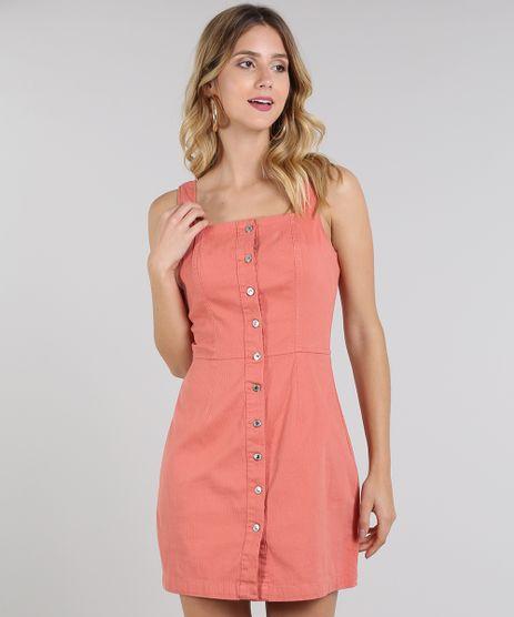 Vestido-Feminino-Canelado-com-Botoes-Coral-9586463-Coral_1