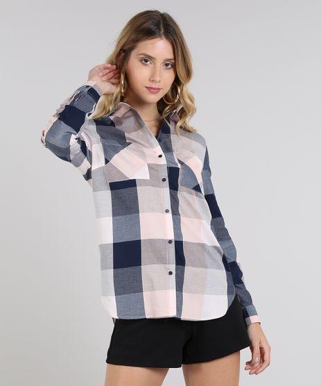 Camisa-Feminina-Longa-Estampada-Xadrez-com-Bolsos-Manga-Longa-Rose-9440469-Rose_1