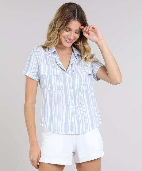 Camisa-Feminina-Listrada-com-Bolso-e-Botoes-Manga-Curta-Azul-9600345-Azul_1