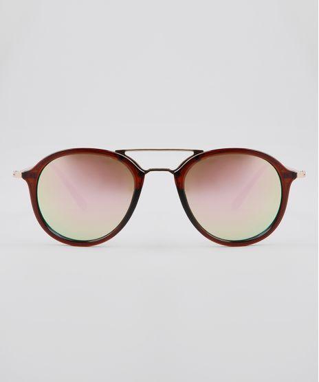 Oculos-de-Sol-Redondo-Feminino-Oneself-Marrom-9636176-Marrom_1