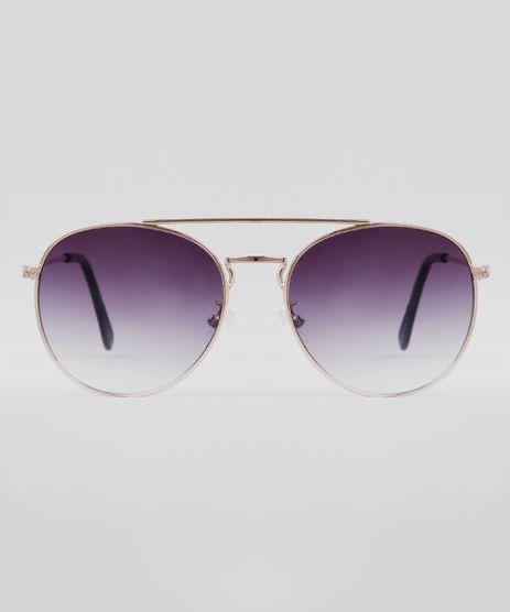 Oculos-de-Sol-Redondo-Unissex-Oneself-Dourado-9636155-Dourado_1