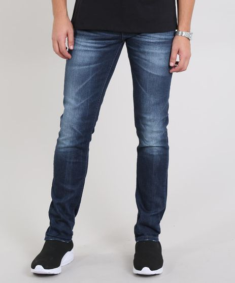 Calca-Jeans-Masculina-Slim-com-Puidos-Azul-Escuro-8655433-Azul_Escuro_1