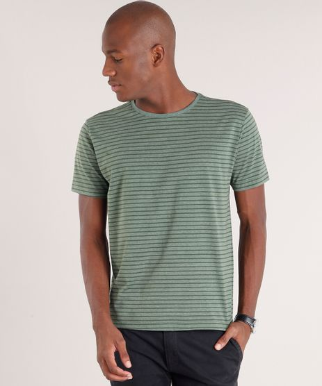 Camiseta-Masculina-Basica-Listrada-Manga-Curta-Gola-Careca-Verde-Escuro-8664276-Verde_Escuro_1