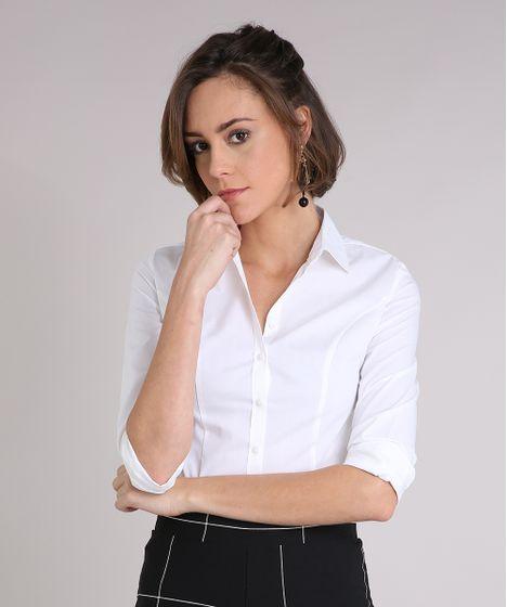 a01dbfca92c68b Camisa Feminina Social Manga Longa Off White - cea