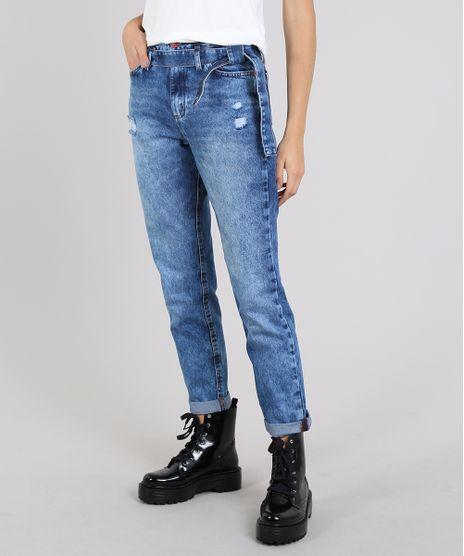 Calca-Jeans-Feminina-Mom-com-Faixa-para-Amarrar-Azul-Medio-9594585-Azul_Medio_1