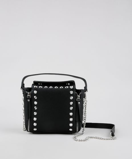 Bolsa-Feminina-Transversal-Pequena-com-Spikes-e-Corrente-Preta-9485377-Preto_1