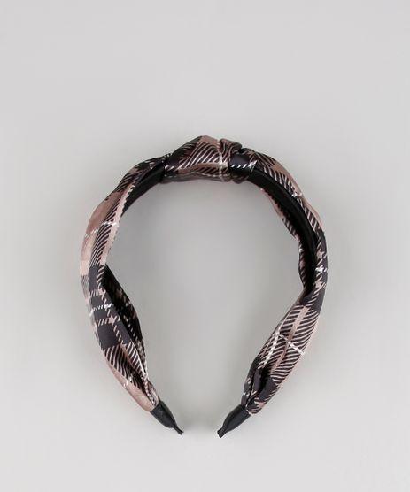 Tiara-Feminina-Estampada-Xadrez-Marrom-9506918-Marrom_1