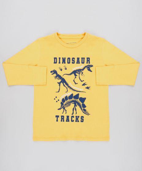 Camiseta-Infantil-com-Estampa--Dinosaur--Manga-Longa-Mostarda-9526314-Mostarda_1