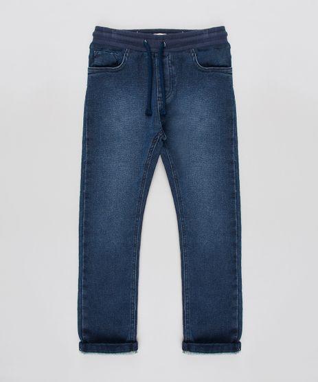 Calca-Jeans-Infantil-em-Moletom-com-Bolsos-Azul-Escuro-9540764-Azul_Escuro_1