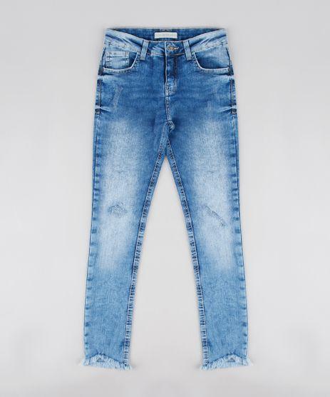 Calca-Jeans-Infantil-Barra-Desfiada-com-Puidos-Azul-Medio-9544104-Azul_Medio_1