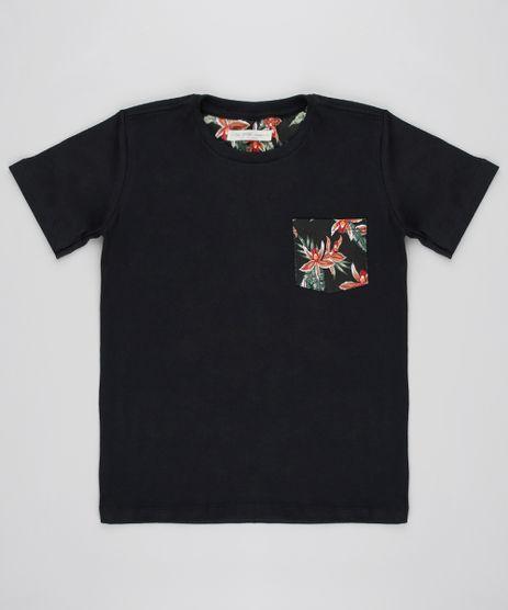 Camiseta-Infantil-com-Bolso-Estampado-Floral-Manga-Curta-Preta-9605210-Preto_1