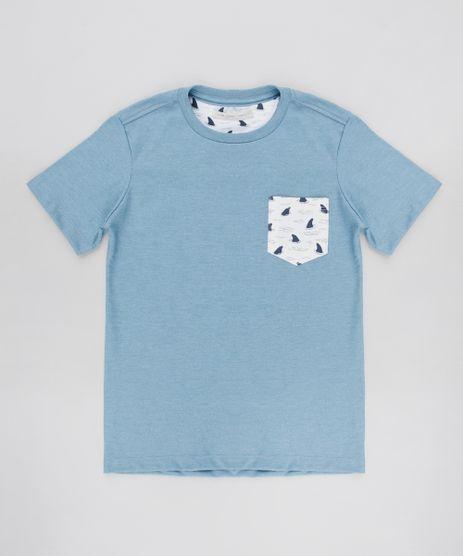 Camiseta-Infantil-com-Bolso-Estampado-de-Tubaroes-Manga-Curta-Azul-9605510-Azul_1