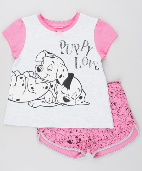 Pijama-Infantil-Dalmatas-Manga-Curta-Cinza-Mescla-Claro-9528341-Cinza_Mescla_Claro_1