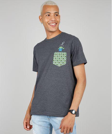 Camiseta-Masculina-Toy-Story-com-Bolso-Estampado-Manga-Curta-Gola-Careca-Cinza-Mescla-Escuro-9583218-Cinza_Mescla_Escuro_1