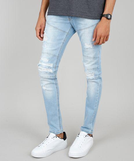 Calca-Jeans-Masculina-Skinny-com-Recortes-e-Rasgos-Azul-Claro-9532782-Azul_Claro_1