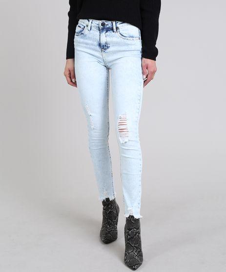 Calca-Jeans-Feminina-Skinny-com-Rasgos-Azul-Claro-9611851-Azul_Claro_1