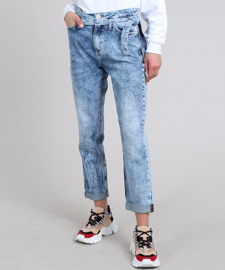 Calca-Jeans-Feminina-Mom-com-Faixa-para-Amarrar-Azul-Claro-9594584-Azul_Claro_1