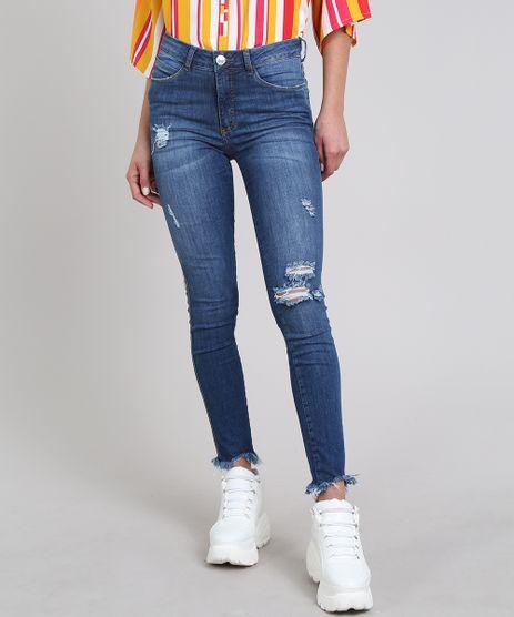 Calca-Jeans-Feminina-Super-Skinny-com-Rasgos-Azul-Medio-9589275-Azul_Medio_1