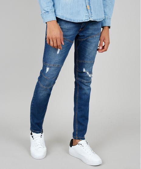 Calca-Jeans-Masculina-Skinny-com-Recortes-e-Rasgos-Azul-Medio-9532783-Azul_Medio_1