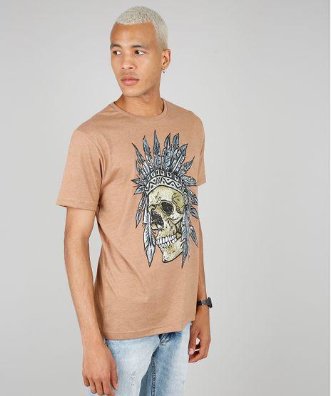 Camiseta-Masculina-Estampada-de-Caveira-com-Cocar-Manga-Curta-Gola-Careca-Caramelo-9578128-Caramelo_1