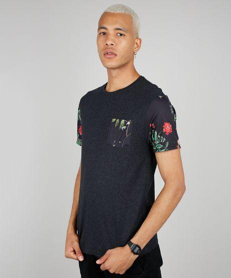 Camiseta-Masculina-com-Bolso-e-Manga-Curta-Estampados-Floral-Gola-Careca-Preta-9593037-Preto_1